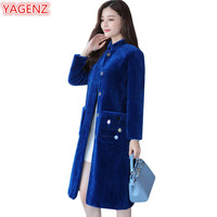 YAGENZ Autumn Winter Coat Women Wool Coat Fashion Jacket Women's clothing Red Coat Long Windbreaker Jacket Temperament Coat 670