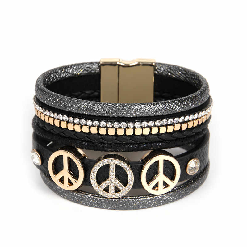 ORP 2018 Paris Star Series Summer New Jewelry Leather Bracelet multiple colour Bohemian Peace Logo Bracelet Gift for women