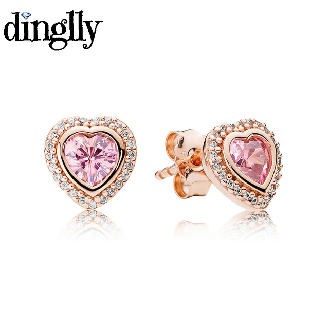 DINGLLY Fashion Rose Gold Lovely Heart Stud Earring with Pink Crystal Pandora  Earrings Jewelry for Women