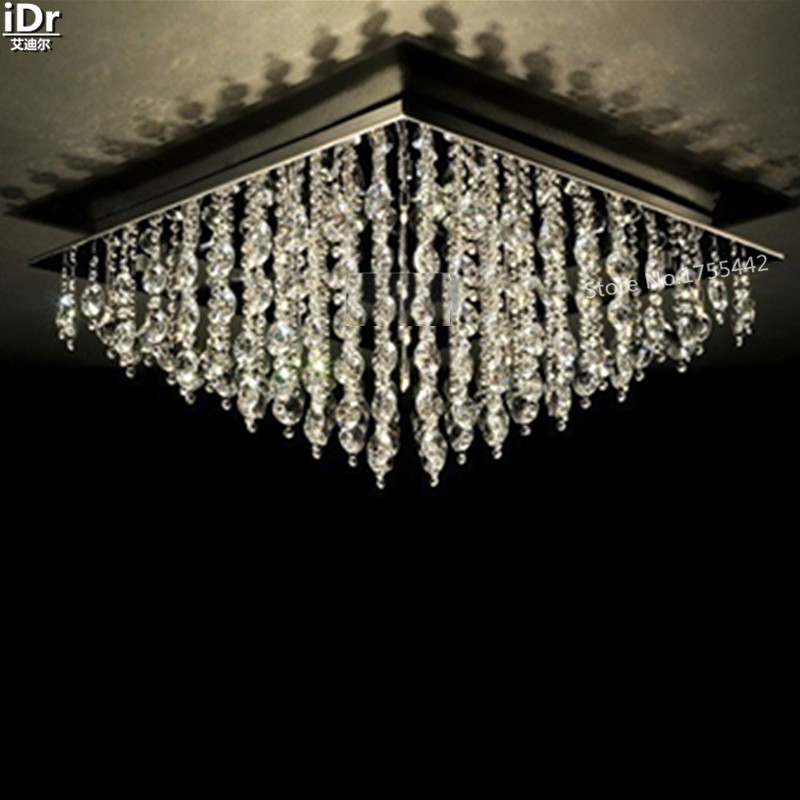 Lámpara de techo dorada de cristal de lujo lámpara de hotel dormitorio adornos de cristal 80cm L x 80cm W x 36cm H