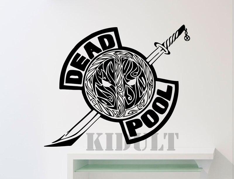 deadpool logo wall stickers dc marvel comics superhero