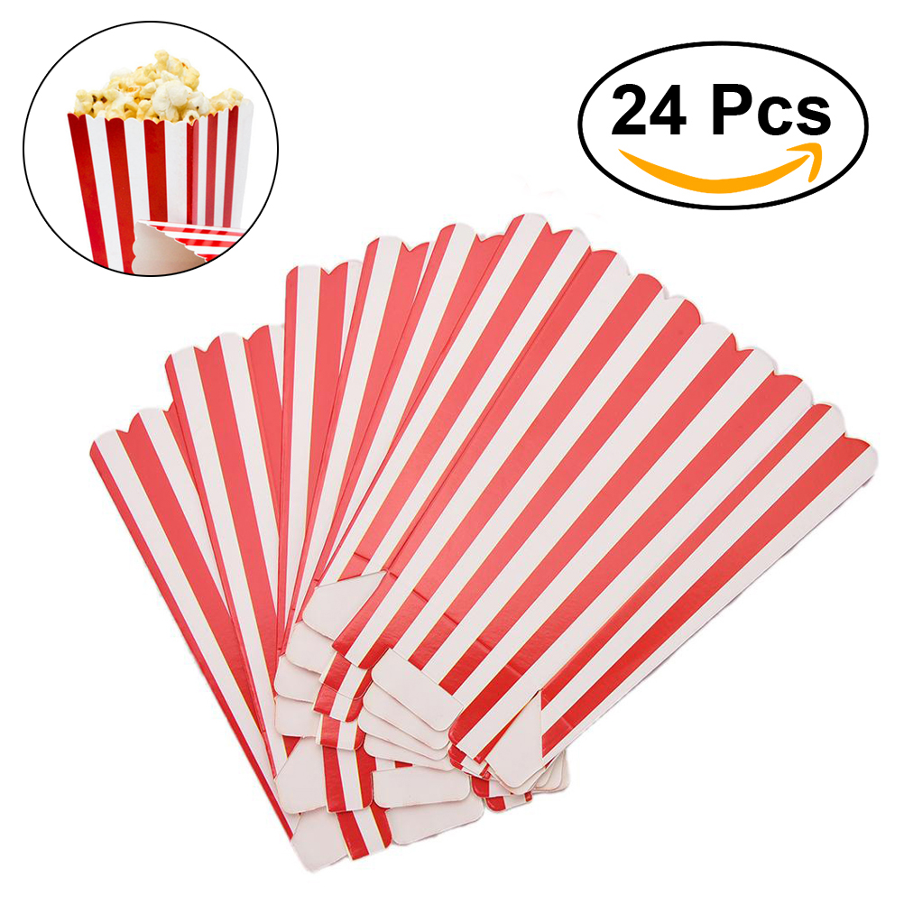 24pcs popcorn boxes holder containers cartons paper bags stripe box for movie theater dessert tables wedding