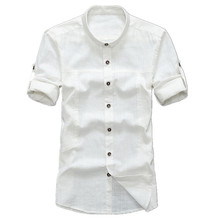 2017 Summer Men's Brand Linen Shirt, Comfortable Breathable Linen Shirt , Large Size Men's Casual Slim Short-sleeved Flax Shirt