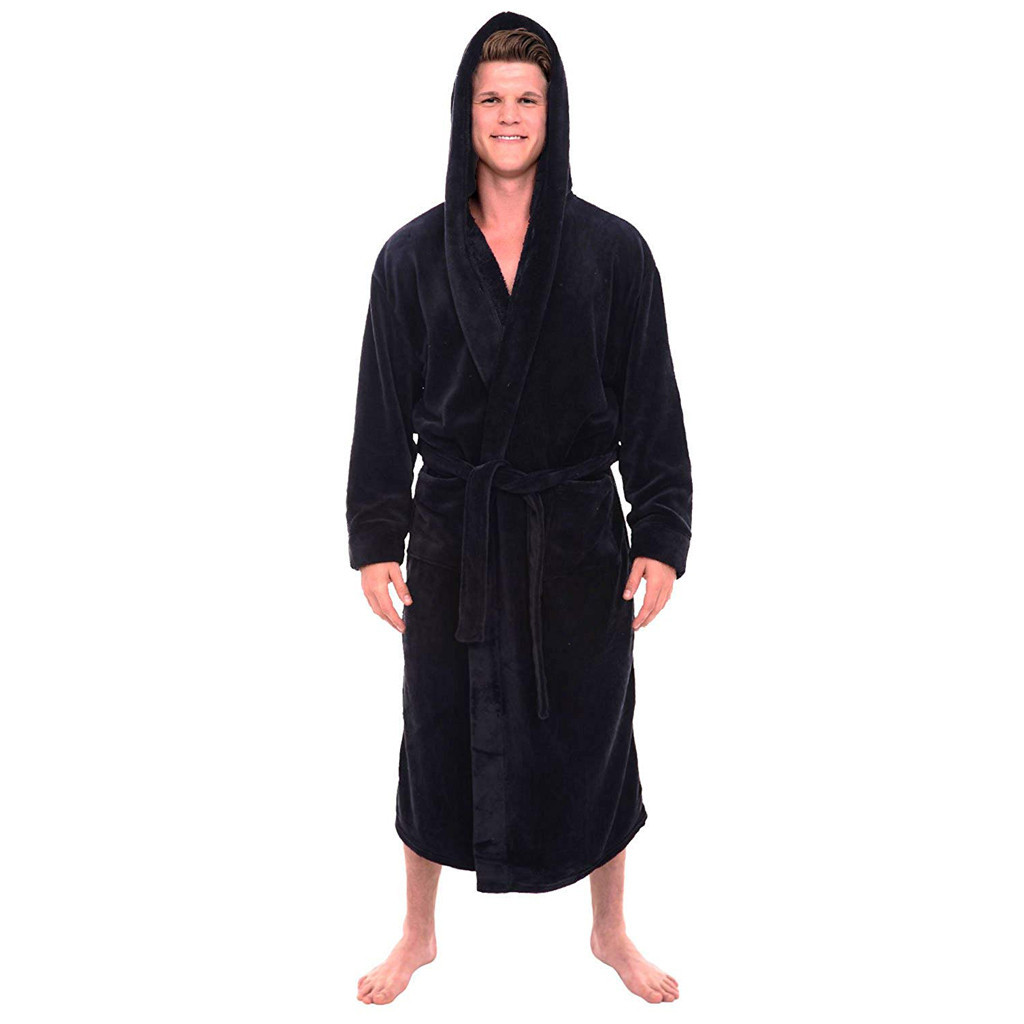Hot Sale Men's Winter Plush Lengthened Shawl Bathrobe Home Clothes Long Sleeved Robe Coat Robe De Chambre Homme Dropship  #1112