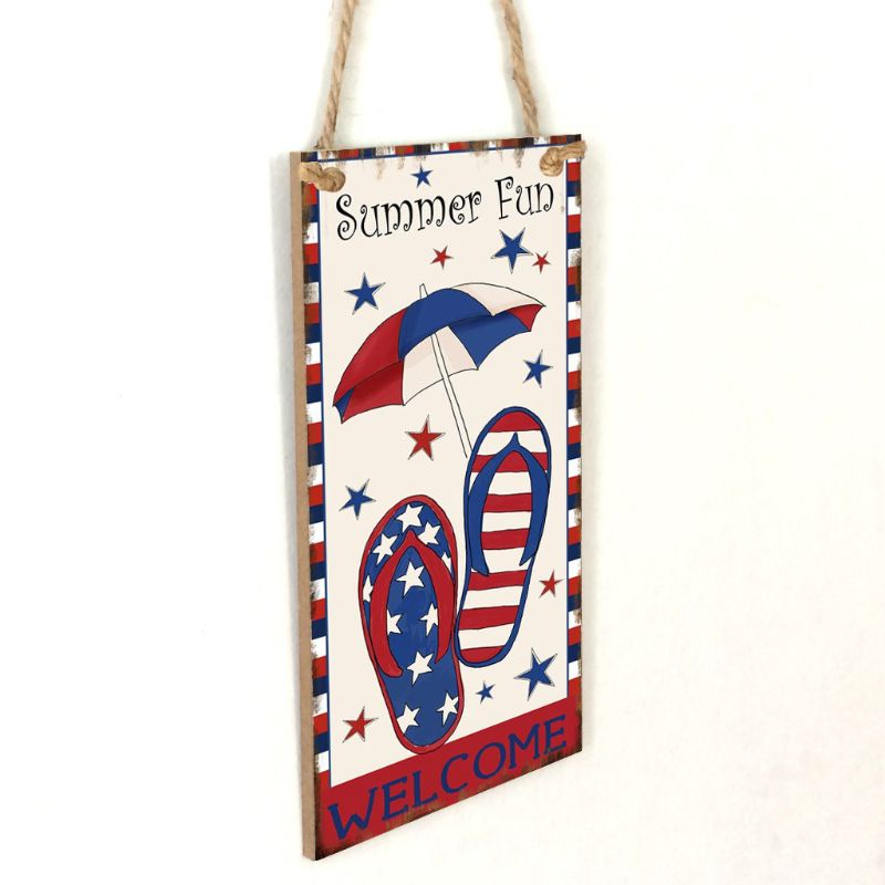 Image 2 - Vintage Wooden Hanging Plaque Welcome Summer Fun Sign Board Wall Door Home Decoration Independence Day Party Gift-in Plaques & Signs from Home & Garden
