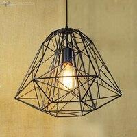 Filet de fer Vintage Edison lampes suspendues lampe Loft industriel en forme de diamant forgé Cage à oiseaux abat jour luminaires suspendus|hanging lighting fixtures|light fixtures|cage lampshade -