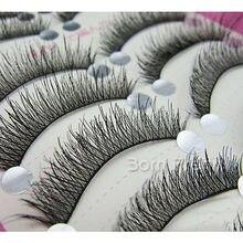 10Pairs/Box Black Cross Handmade False Eyelash Natural Long Fake Eye Lash #HS-1