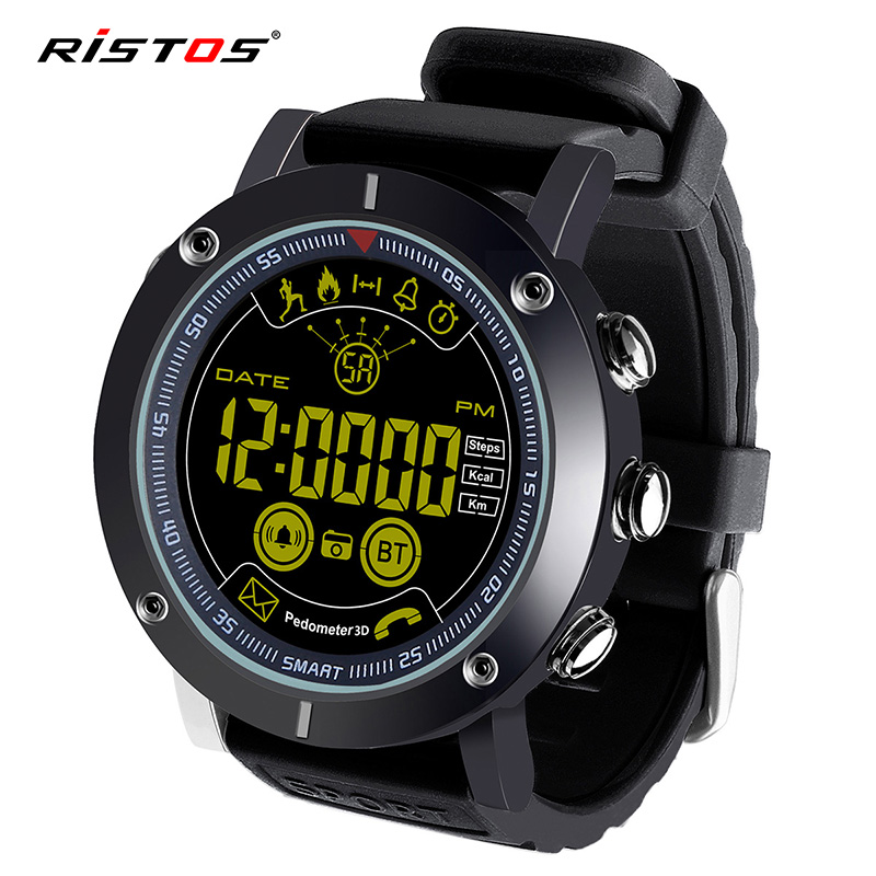 RISTOS Men Military Wristwatch Bluetooth Smart Watch Sport Pedometer Intelligent Led Digital Watches with Messages Call Reminder