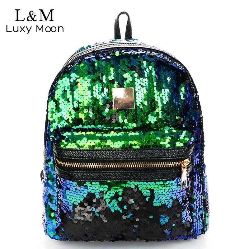 Luxy moon Glitter Backpack Women Sequin Backpacks Teenage Girls Bling Fashion Brand Sliver Gold 2018 School Bag mochila XA908H