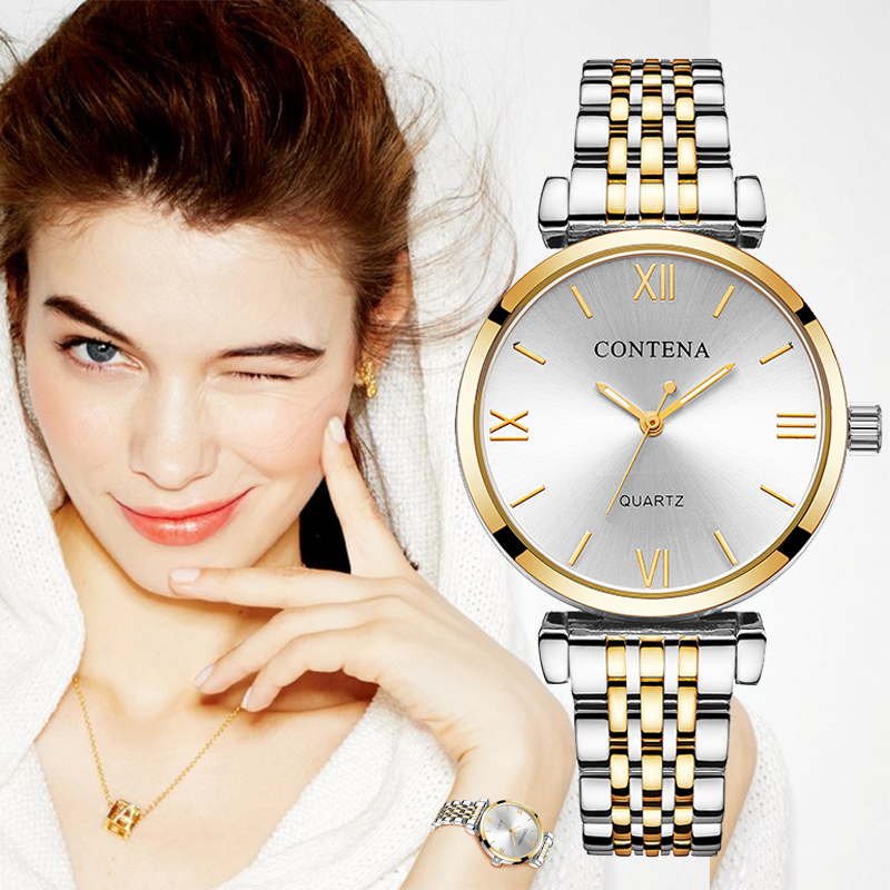 CONTENA Frauen Uhren Diamant Mode Gold Uhren Relogio Feminino Frauen Uhren Reloj Mujer Damen Uhr zegarek damsk Saati