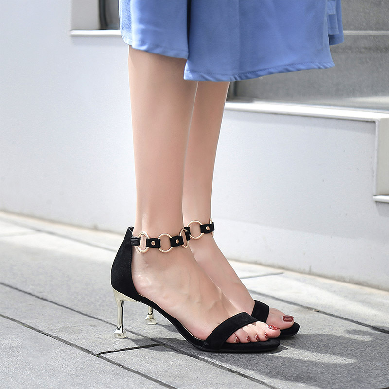2019 new summer high heels open toe buckle with color matching suede cat and female sandals(China)