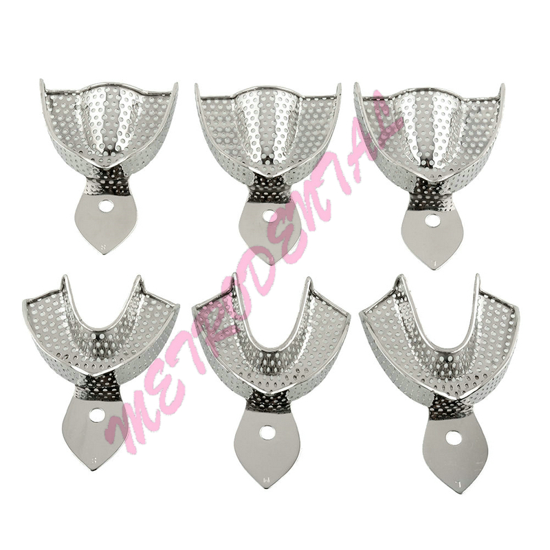 6pcs High Quality Dental Lab Stainless Steel Perforated Impression Trays Autoclavable For Dental Algginate Impression Material 1 set dental lab equipment l m s size upper lower stainless steel impression trays for dental lab free shipping