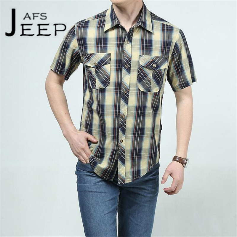 JI PU Summer mens see through shirts,Short Sleeve Loose Striped Double chest pockets cardigan Cotton vrije tijd shirts men