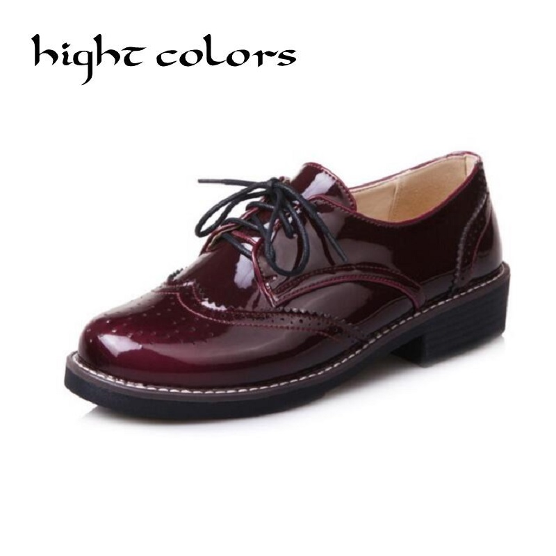 Spring Autumn College Wind Flat Oxford Shoes For Women PU Leather Loafers Lace Up Butterfly Knot Ladies Casual Shoes Wine Red