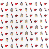 Wide 140cm Retro handmade Twill Cotton Fabric Perfume Red Lips printed Fabric Quilting patchwork DIY Sewing Women Dress Clothing