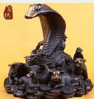 Copper Brass CHINESE Crafts Decor Ation Asian Bronze Sculpture Copper Crafts Decoration Zodiac Snake Zodiac