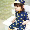 Fashion baby infant swimwear kids boys stars one-piece sun protection swimsuit with hat baby bathing suit beachwear high quality