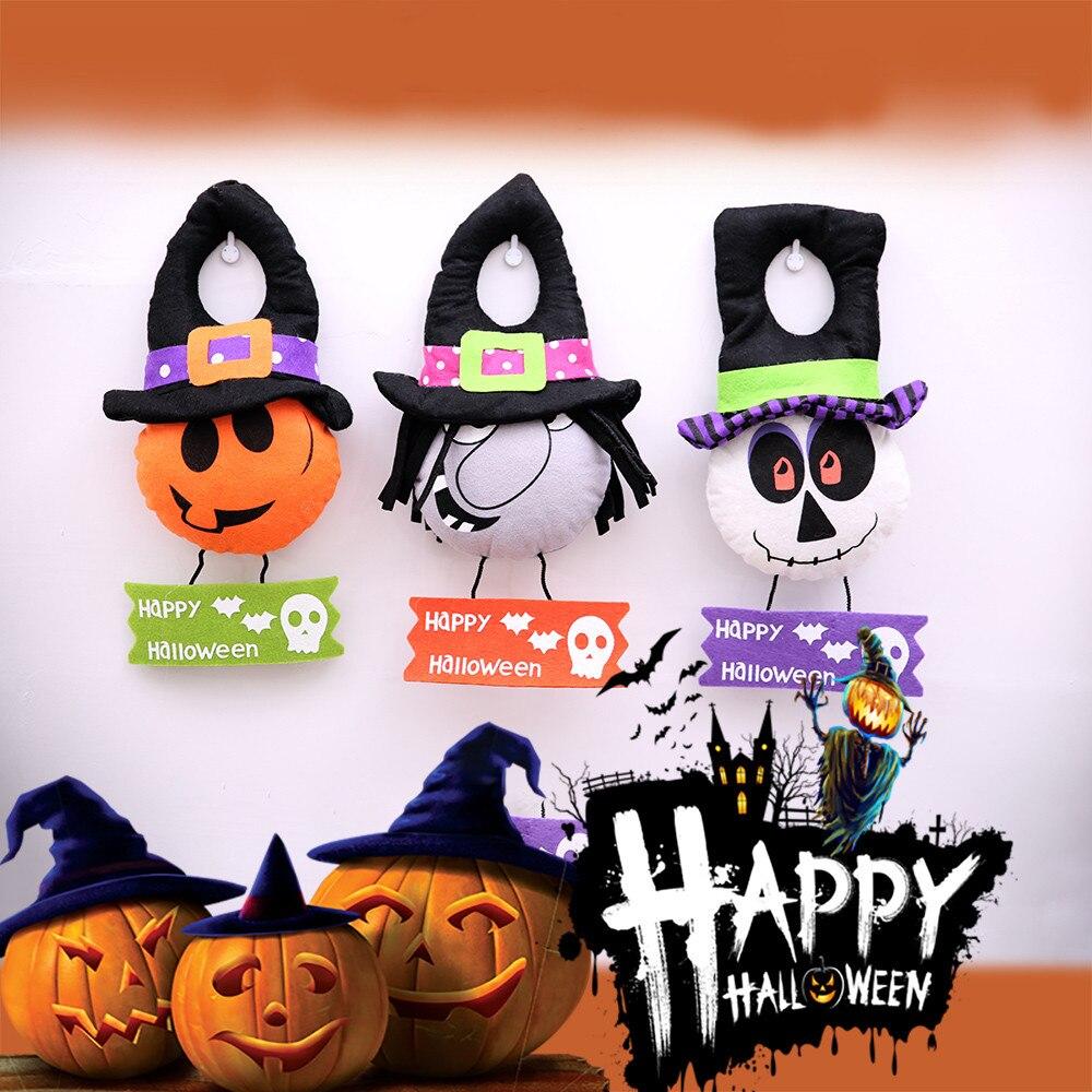 Happy Halloween Panno Porta Ciondolo Zucca strega Decorazioni Hanging  Partito del cranio Decorazione Porta Appeso natale 67388cb553b7