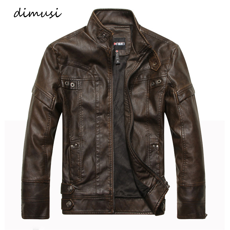 DIMUSI Autumn Winter Mens PU Leather Jacket Motorcycle Leather Coats Male Business Leather Coats Jaqueta De Couro Masculin,TA285