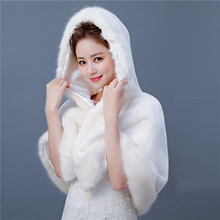 95e7ca500 New Winter Wedding Faux Fur Hooded Cape Bridal Bridesmaids Warm Short Cloak  Women Costume Fashion Wrap