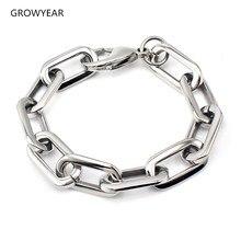 Массивный браслет-цепочка из нержавеющей стали с закругленными углами, унисекс, серебряный цвет, модное ювелирное изделие, браслет с застежкой-лобстером