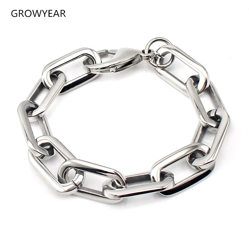 chunky stainless steel rounded rectangle link chain bracelet unisex silver color fashion jewelry bangle bracelet lobster clasp bracelet