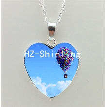 New Hot Air Balloon Heart Necklace Balloons Heart Pendant Up Movie Jewelry Heart Shaped Necklace HZ3