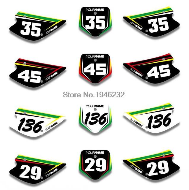 Custom number plate backgrounds backgrounds graphics sticker decals fit for kawasaki kx85 kx100 1998