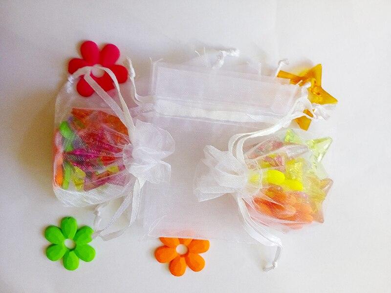 9x12 cm 1000 unids/lote Navidad bolsas de organza blanco cordón bolsa para alimentos/joyería/caramelo/ bolsa de regalo de boda pequeña bolsa de embalaje