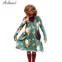 Arloneet Kids Baby Girls Dress Floral Print Long Sleeve Princess Girls Dresses Beautiful Children Sun Dress Clothes l0206