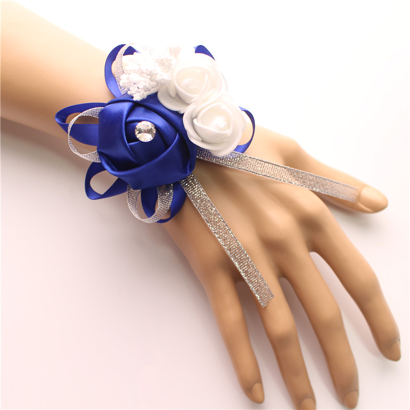 YO CHO Silk Roses White Wrist Corsage Wrist Flowers For Bridesmaids Flower Bracelet Pink Blue Bridal Sisters Wedding Accessories