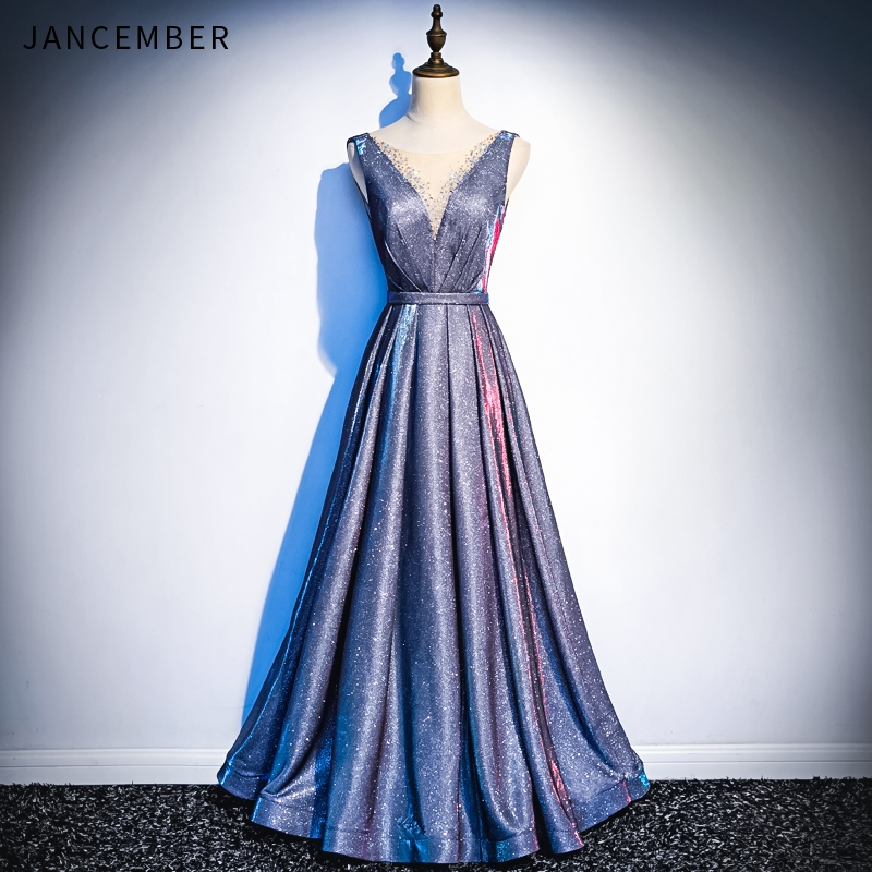 JANCEMBER robes de soirée Illusion col en V sans manches dos nu à lacets retour brillant cristal ceinture paillettes robe de soirée 2019 dernière