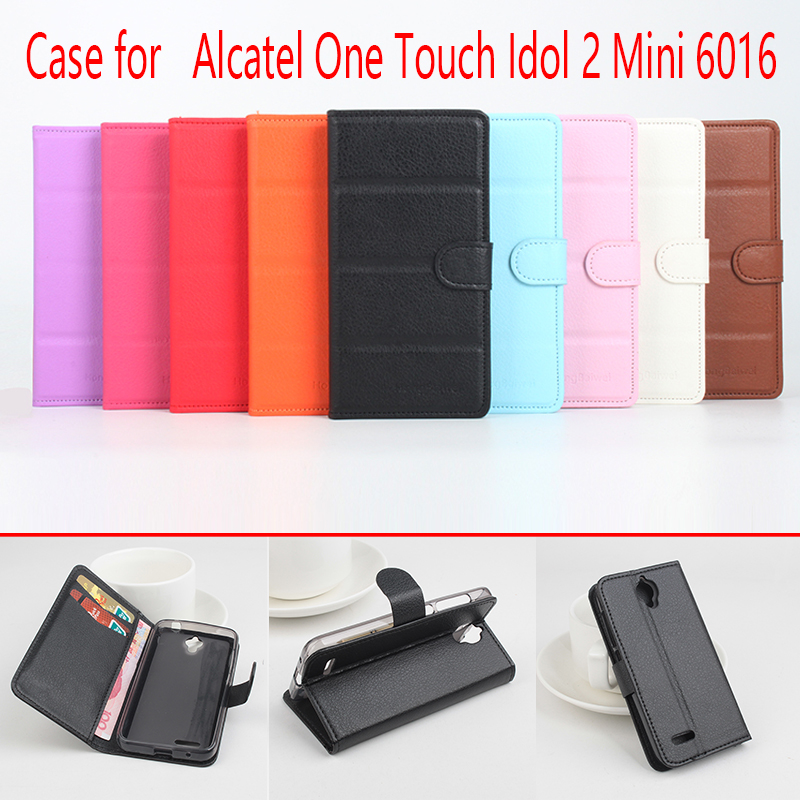 For Alcatel One Touch Idol 2 Mini 6016 Phone Case Folio Flip Pure Color  Lichee Pattern PU Leather Wallet Cover Cash/Card Slots