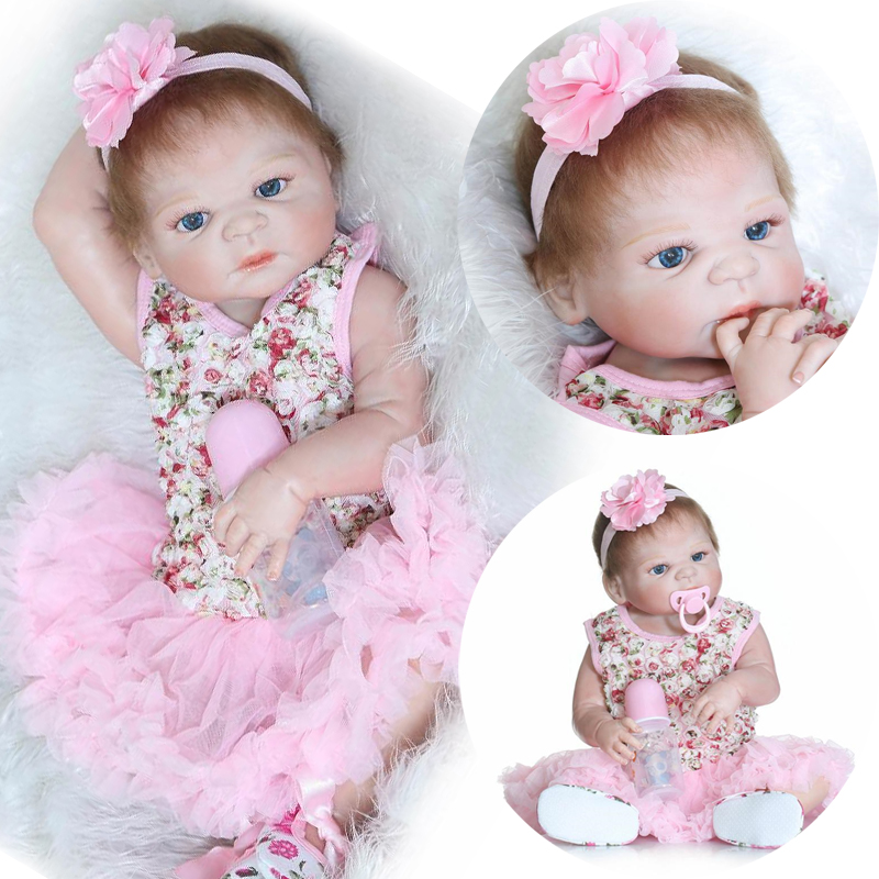 55cm/22 Floral Print Dress Baby Girl Blue Eyes Full Body Vinyl Soft Touch Reborn Dolls Kids Toys Christmas Gift 6091903 lps pet shop toys rare black little cat blue eyes animal models patrulla canina action figures kids toys gift cat free shipping
