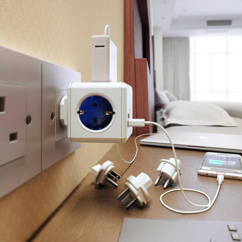 Allocacoc PowerCube ue wtyczka 4 gniazda 2 porty USB adapter podróżny listwa zasilająca rozszerzenie Smart Home Multi gniazdo przełączane na niebiesko