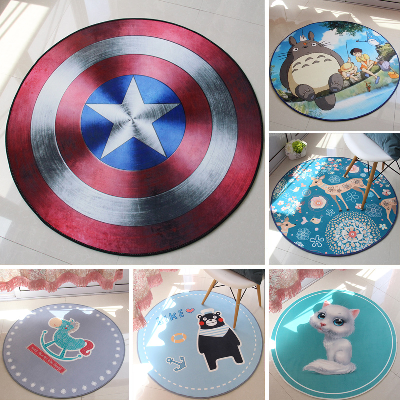 2017 hot Cute Cartoon Round Carpet Non-Slip Multi Colors Living Room Kids Room Rug Captain America Mat for Bedroom Free Shipping