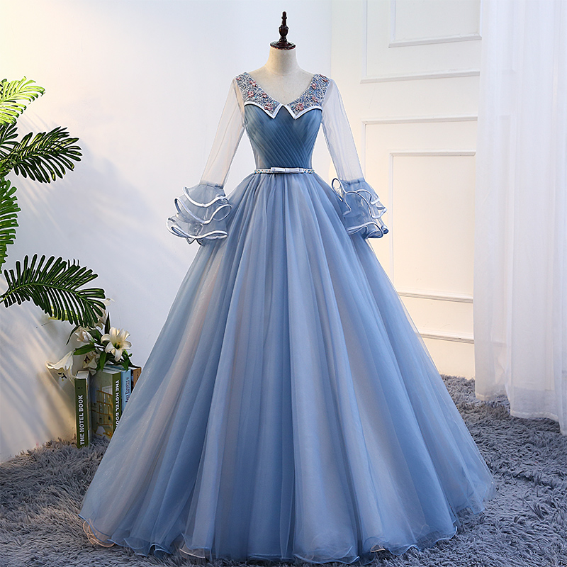 Medieval Renaissance Light Blue And White Gown Dress: 100%real Masquerade Light Blue Embroidery Court Medieval