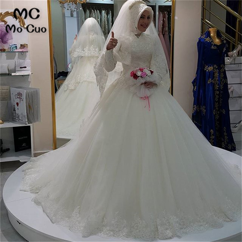 Vintage 2020 Ball Dubai Arabic Muslim Wedding Dress Without Hijab Long Sleeve Vestidos De Novia Robe De Mariage Wedding Dresses