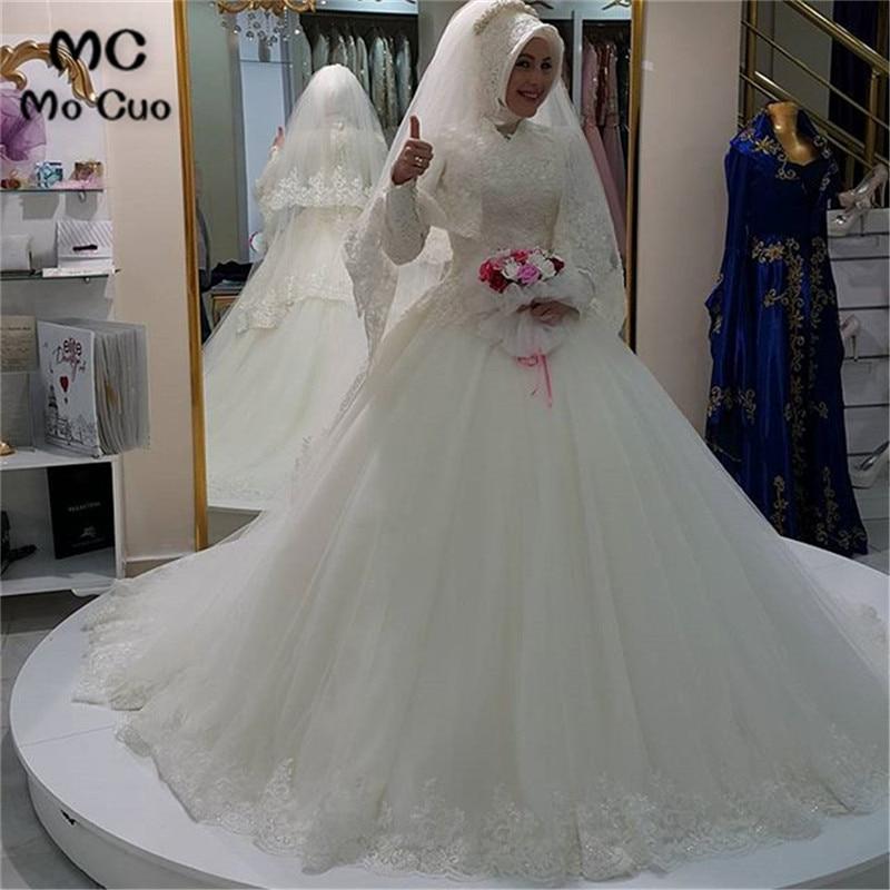 Vintage 2020 Ball Dubai Arabic Muslim Wedding Dress Without Hijab Long Sleeve Vestidos De Novia Robe De Mariage Wedding Dresses
