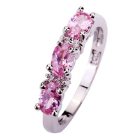 Charming Women Jewelry Gift Wedding Oval Cut Pink Topaz 925 Silver Ring Size 6 7 8
