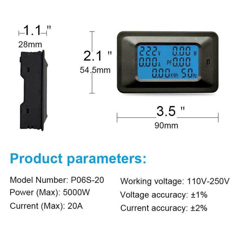 Image 5 - Digital Multimeter Frequency Power Energy Voltage Current Measuring Power Alarm Threshold Preset Voltmeter Ammeter Multimeter-in Multimeters & Analyzers from Automobiles & Motorcycles