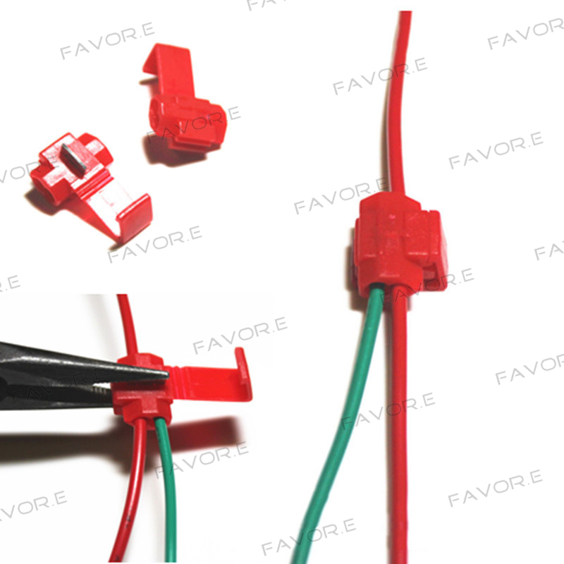 50PCS PVC Wire Crimp Terminals Connector Quick Splice Wiring Cable Clamp Red Connection Maintenance Tools 22-18 AWG