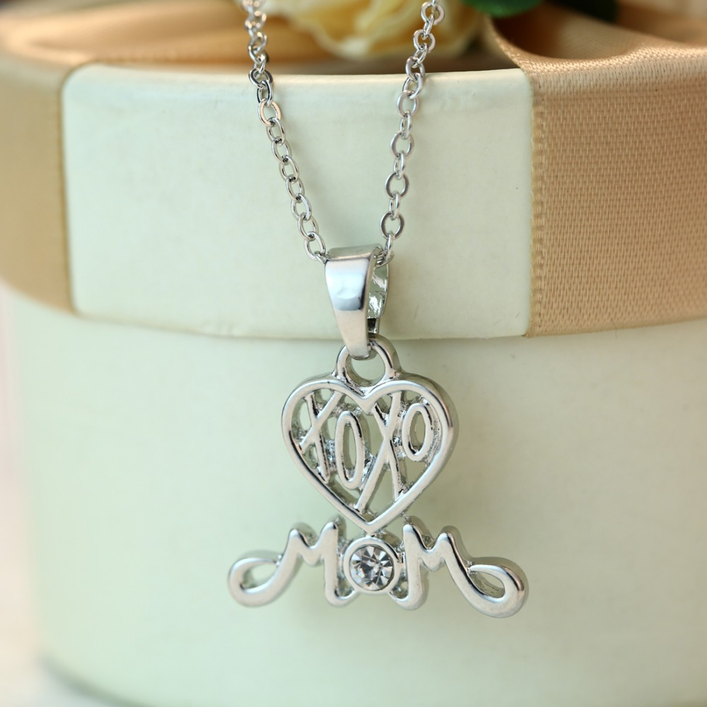 Rinhoo Fashion Letters Mom Necklace I Love You Mom Gift Silver
