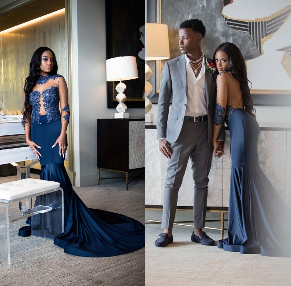 Vestidos Mermaid Navy Blue Prom Dresses Long 2019 Long Sleeves Appliqued Reflective Dress Prom Party Gown Formal Evening Dress