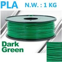 Dark green filamento pla Vacuum sealed packaging 3d pen plastic high quality 1.75mm filament impressora 3d pla 1kg filament