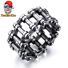 Personalized Bicycle Chain Ring Titanium Stainless Steel Material Rings Hip-Hop RAP Street Culture Fashion Trendy Man Jewelry
