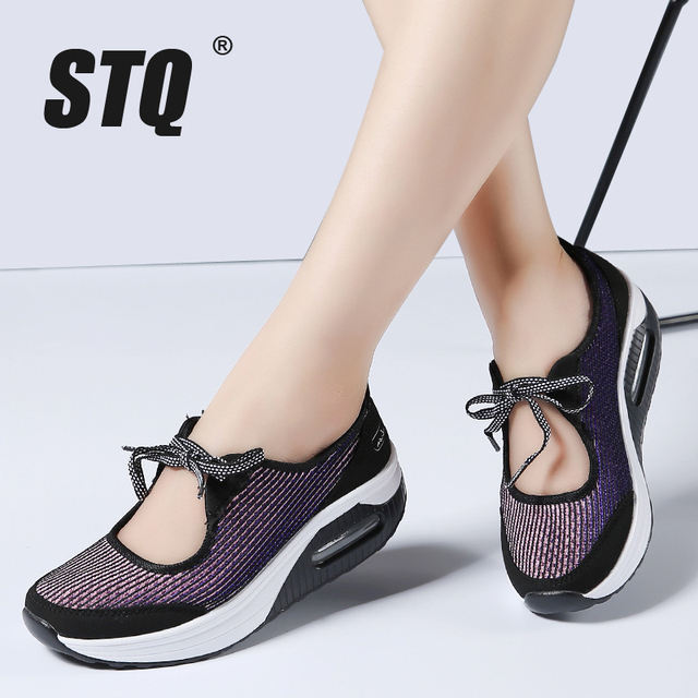 d5c4b11606c2 STQ 2018 summer women flat platform shoes women breathable mesh casual shoes  lace up platform sandals heel female shoes 7675