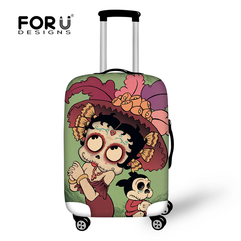 FORUDESIGNS Customade Travel Suitcase Protective Cover,Skull Elastic Covers For 18-28 Inch Case Dust Waterproof Luggage Cover