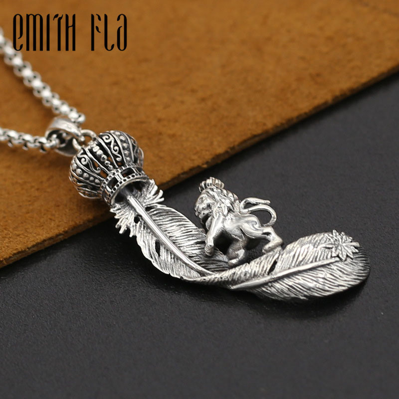 Genuine 925 Sterling Silver Vintage Punk Thai Silver Eagle Feather Crown Lion Pendant For Women Men Necklace Jewelry RetroGenuine 925 Sterling Silver Vintage Punk Thai Silver Eagle Feather Crown Lion Pendant For Women Men Necklace Jewelry Retro