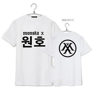 Kpop idol x monsta new Korean name print print members kpop short sleeve plus size men women summer shirt